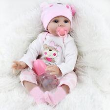 22'' Reborn Poupée Bébé Fille Réaliste Nouveau-Né en Silicone + Vêtement Jouet