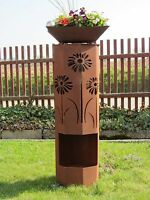 8Eck Säule Rost Blumenwiese Edelrost Metall Gartendeko Stele Rost Deko Rostsäule