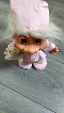 """Vtg Russ Vinyl Troll Doll In Pink Pajamas With Hat And Attached Teddy Bear 8"""""""