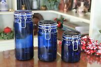 Cobalt Blue Glass Canister Set with Hinged Lid & Wire Bail Clamps