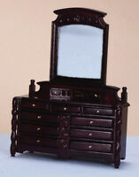 Mahogany Dressing Table,Drawers & Mirror,Miniature Furniture, Bedroom Dollhouse