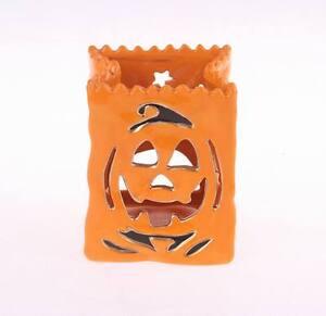 16096 Jack-O-Lantern Pumpkin Ceramic Luminary w/LED Light Halloween Decoration