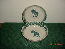 """2-PC TIENSHAN FOLK CRAFT """"MOOSE COUNTRY"""" 6 3/4"""" SOUP BOWLS/CREAM-GRN/STAMPED!"""