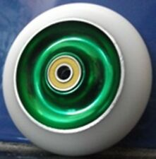SCOOTER WHEELS-CLEARANCE Solid Core -GREEN/White -100mm FREE GRIP TAPE & POST