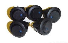 5Pcs 12V 16A Blue LED Rocker Round Switch Toggle On-Off Control SPST