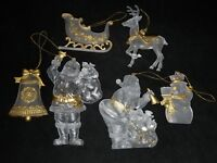 Lot of 6 Vintage Frosted Clear Plastic w/ Gold Accent Christmas Ornaments Santa