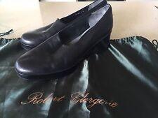 ROBERT CLERGERIE France $550 Black Leather Slip-On, Platform, Heels Shoes 38.5