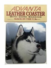 Siberian Husky Dog Single Leather Photo Coaster Animal Breed Gift, AD-H52SC