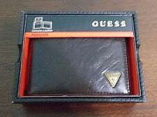 GUESS MENS' LEATHER PASSCASE BILLFOLD WALLET BROWN GIFT BOXED
