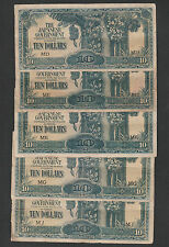 (B) Japanese Occupation 10 Dollars Mix Letter MD/ME/MG/ME/MJ