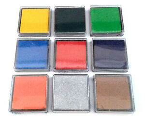 3 pcs set Ink pad rubber stamps Green Blue Silver Yellow Brown Red Black Orange