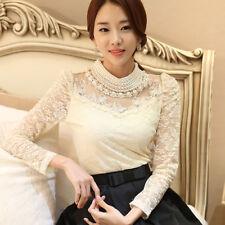 Women Lace Blouse Shirts Elegant Chiffon Top Female Blouse Formal Wear Clothes