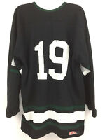Vintage CCM Men's Hockey Jersey #19 NHL Black Green White Made In Canada Size XL