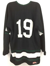 VINTAGE #19 CCM HOCKEY JERSEY BLACK GREEN WHITE NHL MADE IN CANADA MENS SIZE XL