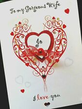"Hand-made personalised ""Love Heart' Valentine Card"