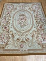 "7'10"" x 10'1"" Chinese Aubusson Oriental Rug - Flat Weave - Hand Made - 100% Wool"