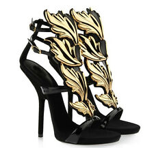 Ladies Womens Gold Leaf Strappy Gladiator Sandal Stiletto High Heels Party Shoes
