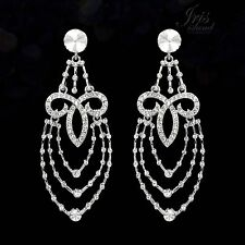 Rhodium Plated Clear Crystal Rhinestone Wedding Drop Dangle Earrings 02394 Party
