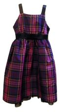 Justice purples plaid party occasion dress with peek a boo crinoline Sz 14