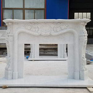 Hand Carved French style White Louis marble fireplace mantel,marble mantle