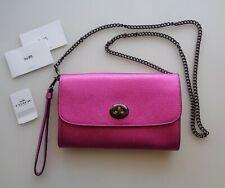 NEW Coach F22828 Chain Crossbody Clutch Bag Clutch Metallic Cerise Pink Leather