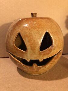 LARGE Vintage Studio POTTERY Terra Cotta JACK O LANTERN Pumpkin HALLOWEEN Signed