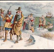 Pilgrims 1894 © Mayflower Landing Ship Coats Sewing Thread Victorian Trade Card