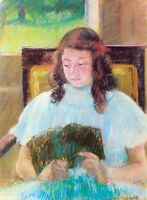 Young girl reading by Mary Cassatt Giclee Fine Art Print Reproduction on Canvas