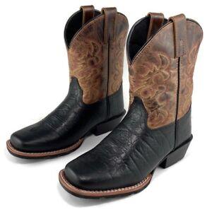 "Dan Post Boys 8"" Leather Western Cowboy Boots Mid Calf Black Brown Rust DPC2944"