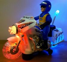 POLICE MOTORBIKE  BUMP AND GO CAR LED SIREN & WHEEL LIGHTS WITH SOUNDS - 23CM