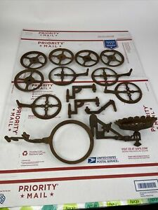 Vtg Cast Iron Wall Sconce Oil Lamp Holder Swings Arms Plus Extras 14 Pcs
