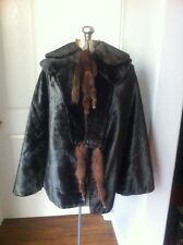 1800's Victorian Black Velvet Fur Mink Tails Cape Coat Jacket Full & Wide