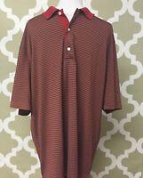Greg Norman Men's Golf Polo Size XL Red Horizontal Striped Pattern Short Sleeve