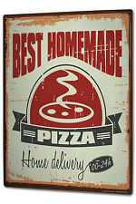 Tin Sign XXL Food Restaurant Home made pizza metal plate plaque