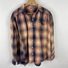 Free People Shirt Size XS Women Take On Me Buttondown Plaid Flannel Stud Raw Hem