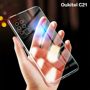 CLEAR Case Soft Slim TPU Cover Shockproof Silicone Skin For Oukitel C21 + Glass