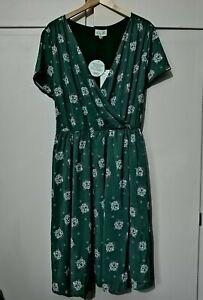 BNWT Lindy Bop Green Westie Dog Print Mock Wrap Vintage Tea Dress Size 20