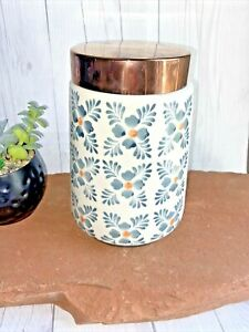 Kitchen Storage Canister Threshold Copper Colored Lid Floral Pattern