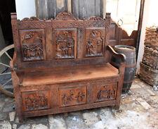 Antica cassapanca  magnifica panca in legno rustica scultura pannello intagliata