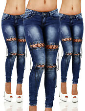 Sexy Stretchy Women's Blue Jeans Trousers With Front Lace Skinny Slim M 076