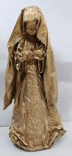 Vtg Draped Fabric Lace Gold Dipped Praying Mary Madonna Child Statue Tree Topper