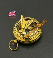 Antique Vintage Brass Push Button Sundial Compass - Hunter/Pirate POCKET SUNDIAL