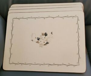 """Set of 4 x  Pimpernel Table Place Mats white blossom 9"""" x 12"""""""