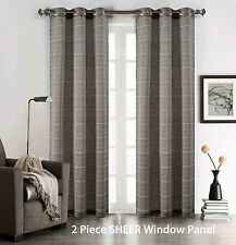 "Set of (2) Gray Sheer Grommet Window Curtain Panels: Stripe Design, 76"" W x 84"""