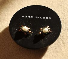 $80 Marc Jacobs Turtle Stud Earrings faux pearl green crystals