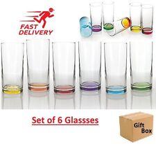 6x Set ArtCraft Coral Coloured Highball Glass Tumbler Juice Whiskey Wine Glass
