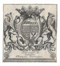 ANONYM: heraldisches Exlibris für Louis Cezar de Cremeaux Marquis Dentragues