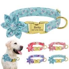 Soft Nylon Dog Personalised Collars Custom Dog Name Tag Engraved Blue Pink S M L