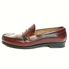 G H Bass Weejuns Penny Loafers 079F3222 Size 9.5E Burgundy Leather Nail Heel