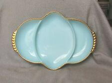 """Hocking Blue Fire-King Oven Ware 3-Part 11"""" Handled Tray Gold Beaded Rim"""